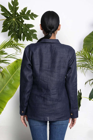 Navy Blue Handwoven Linen Shirt