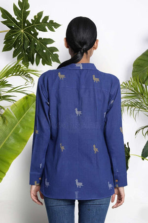 Blue Handwoven Cotton Shirt Rivka Roopkatha - A Story of Art