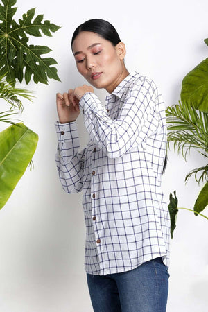 White Handwoven Cotton Shirt With Checks