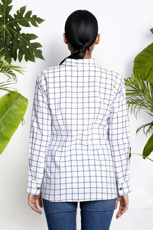 White Handwoven Cotton Shirt With Checks Rivka Roopkatha - A Story of Art