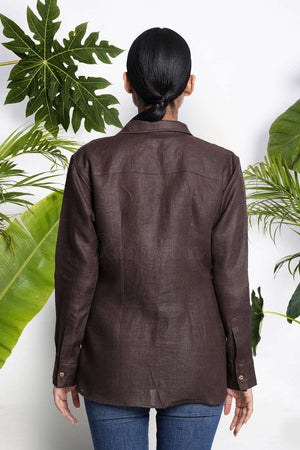 Brown Handwoven Linen Shirt