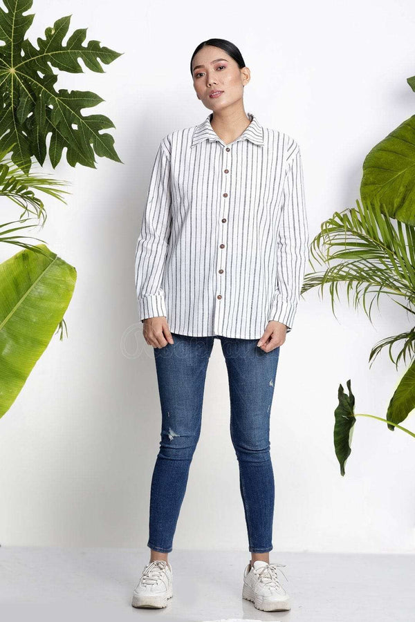 White Handwoven Cotton Shirt With Stripes Rivka Roopkatha - A Story of Art