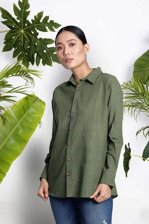 Green Handwoven Cotton Shirt Rivka Roopkatha - A Story of Art