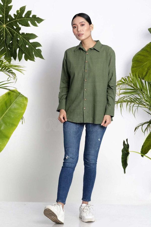 Green Handwoven Cotton Shirt