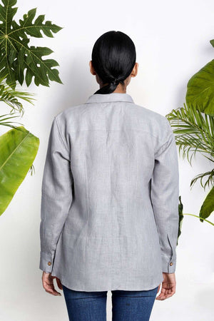 Grey Handwoven Linen Shirt