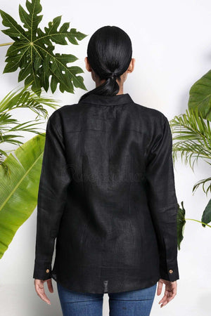 Black Handwoven Linen Shirt