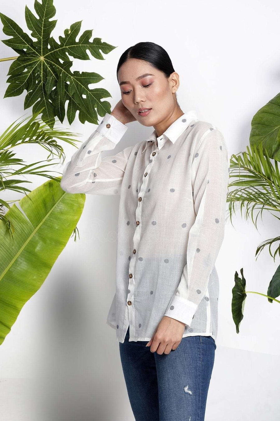 White Handwoven Cotton Shirt With Woven Design