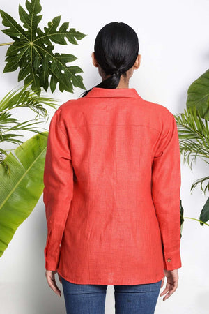 Orange Handwoven Linen Shirt