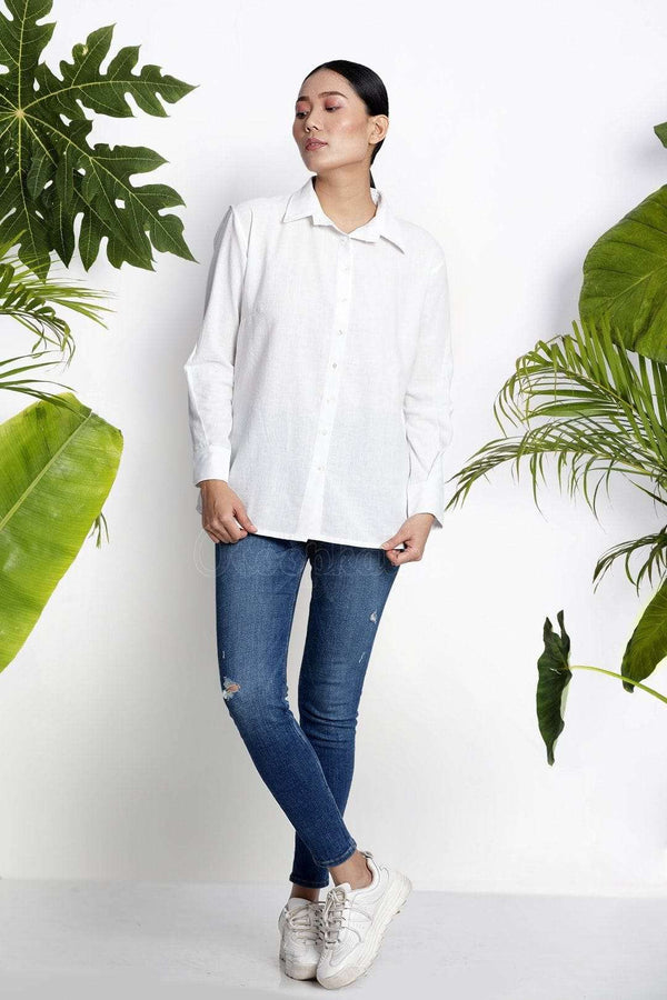 White Handwoven Cotton Shirt