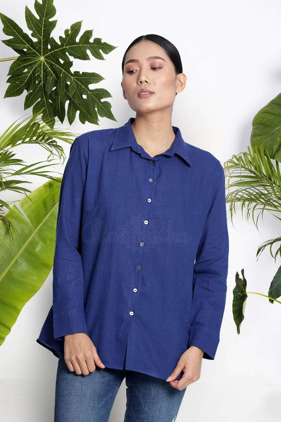 Blue Handwoven Cotton Shirt