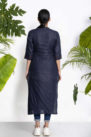 Navy Blue Handwoven Kurta With Raised Neck Rivka Roopkatha - A Story of Art