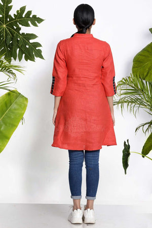 Orange Handwoven Kurta With Pocket Rivka Roopkatha - A Story of Art