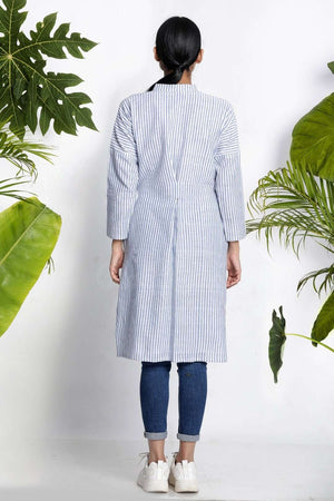 White Striped Handwoven Kurta With Collar Rivka Roopkatha - A Story of Art