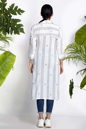 White Handwoven Kurta With Collar Rivka Roopkatha - A Story of Art