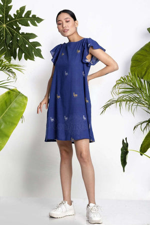 Blue Handwoven Tunic With Gathered Sleeves