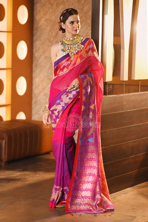 Pink & Purple Linen Saree With Woven Zari