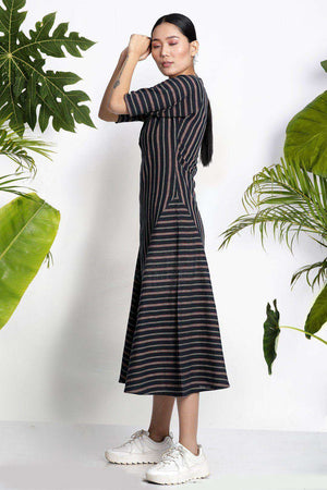 Black Handwoven Kurta With Stripes