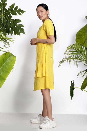 Yellow Handwoven Kurta With Half Sleeves Rivka Roopkatha - A Story of Art