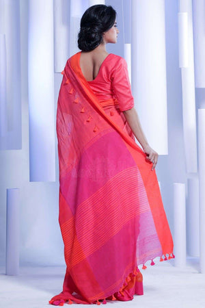 Pink & Orange Pure Cotton Saree With Pompom