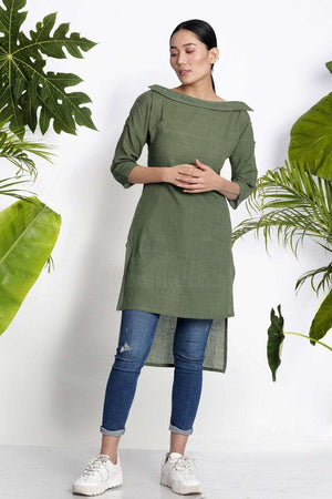 Green Handwoven Kurta With Collar Rivka Roopkatha - A Story of Art
