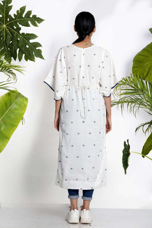 White Handwoven Kurta With Bell Sleeves
