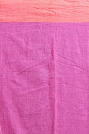 Orange Pure Cotton Saree With Pink Border Cotton Threads Of India Roopkatha - A Story of Art
