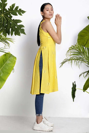 Yellow Sleeveless Handwoven Kurta With Buttons