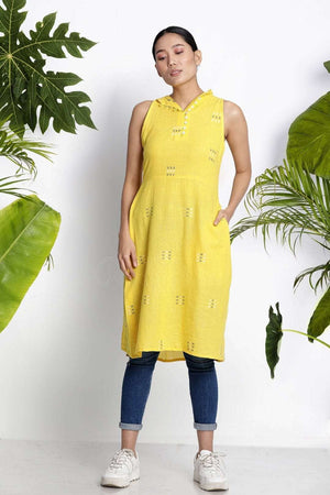 Yellow Sleeveless Handwoven Kurta With Buttons Rivka Roopkatha - A Story of Art