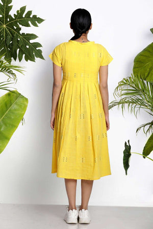 Yellow Handwoven Kurta With Pleats