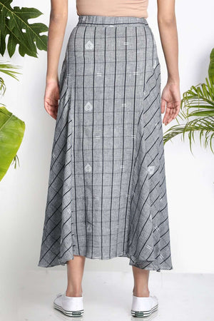 Grey Handwoven Midi Skirt Rivka Roopkatha - A Story of Art