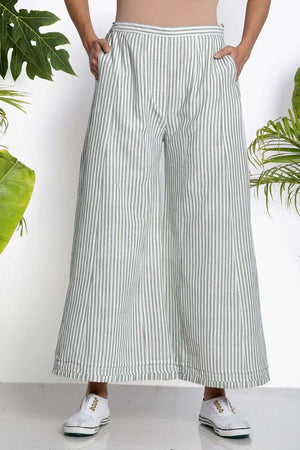 White Handwoven Straight Pants Rivka Roopkatha - A Story of Art