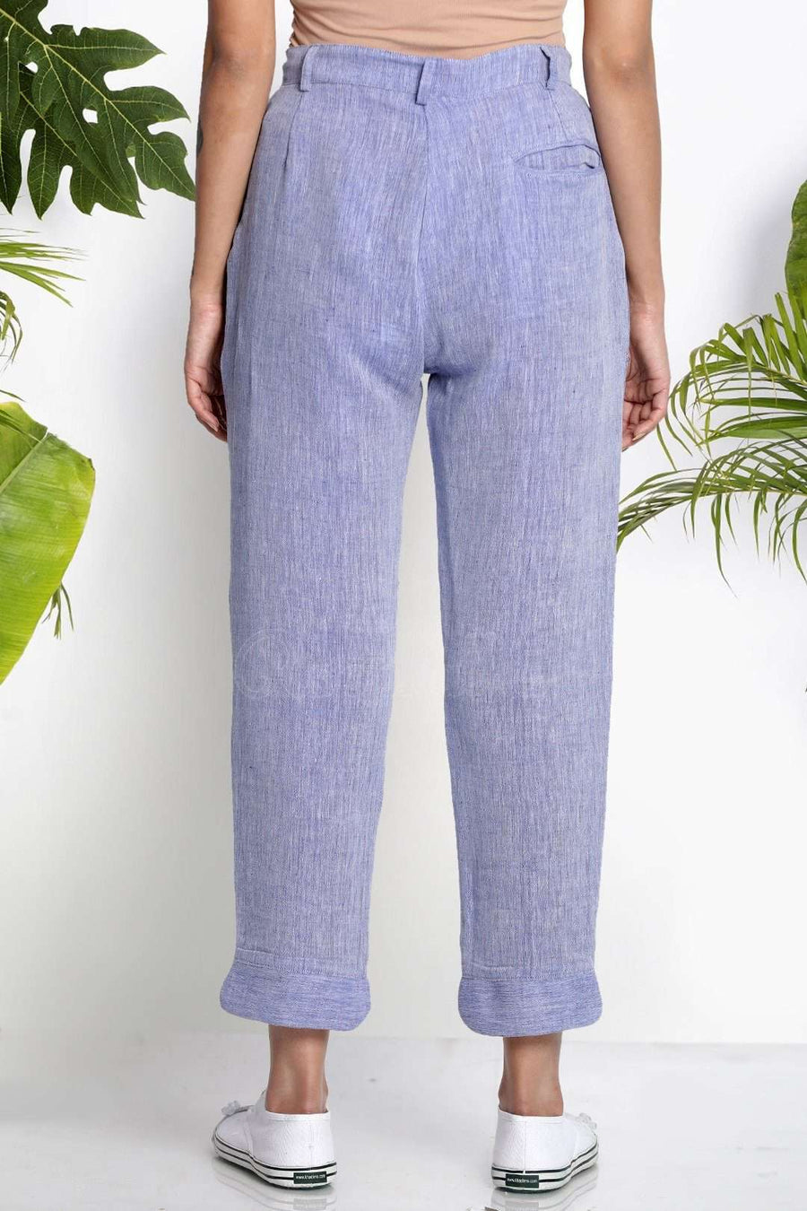 Blue Handwoven Cropped Pants