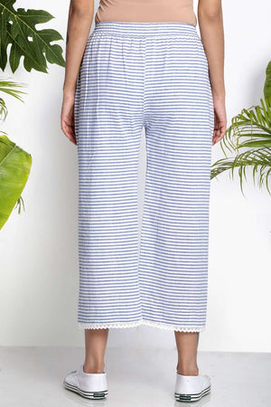 White & Blue Handwoven Cropped Pants Rivka Roopkatha - A Story of Art