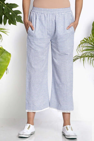 White & Blue Handwoven Cropped Pants