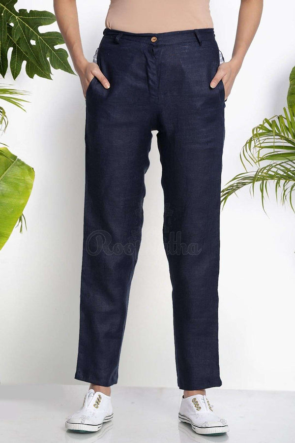 Navy Blue Handwoven Straight Pants