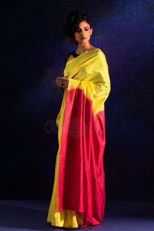 Yellow Matka Silk Saree With Berry Red Pallu Kriti Classics Roopkatha - A Story of Art