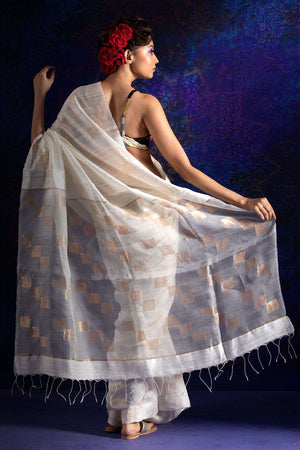 White Matka Silk Saree With Zari Kriti Classics Roopkatha - A Story of Art