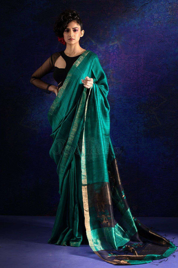 Teal Matka Silk Saree With Woven Pallu Kriti Classics Roopkatha - A Story of Art