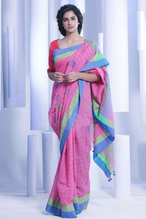 Pink Pure Cotton Saree With Box Pallu Cotton Threads Of India Roopkatha - A Story of Art