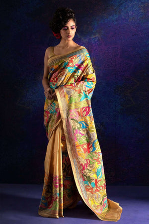 Butterscotch Bangalore Silk Saree With Kantha Stitch Kriti Classics Roopkatha - A Story of Art