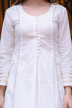 White Cotton Kurta & Skirt With Gold Intricacies