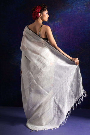 White Linen Saree With Floral Print
