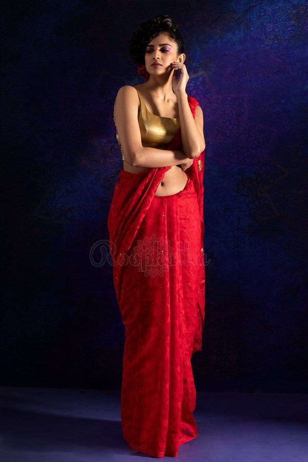 Red Jamdani Saree With Zari