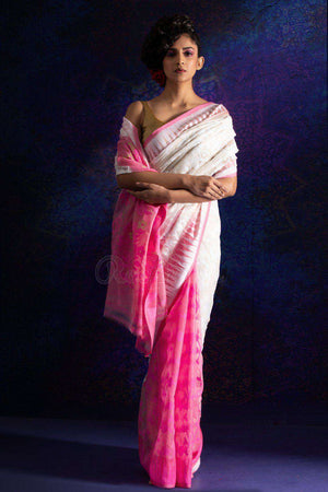 White And Pink Jamdani Saree With Zari