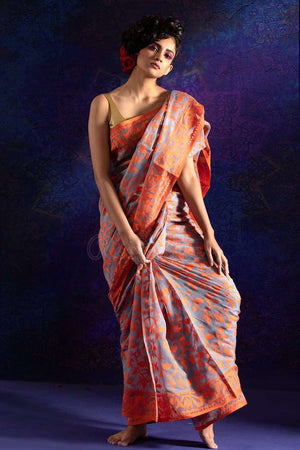 Grey Jamdani Saree With Orange Thread Weave