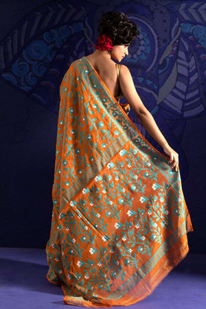 Orange Jamdani Saree With Blue Thread Weave