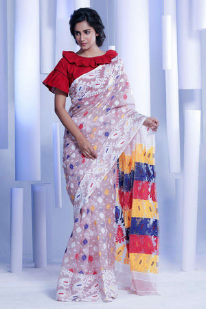 White Jamdani Saree With Multicolor Thread Work Jamdani Weave Roopkatha - A Story of Art
