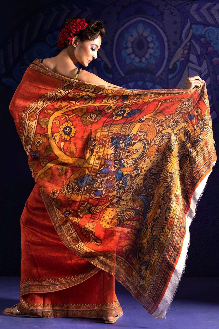 Rust Orange Linen Saree With Digital Print