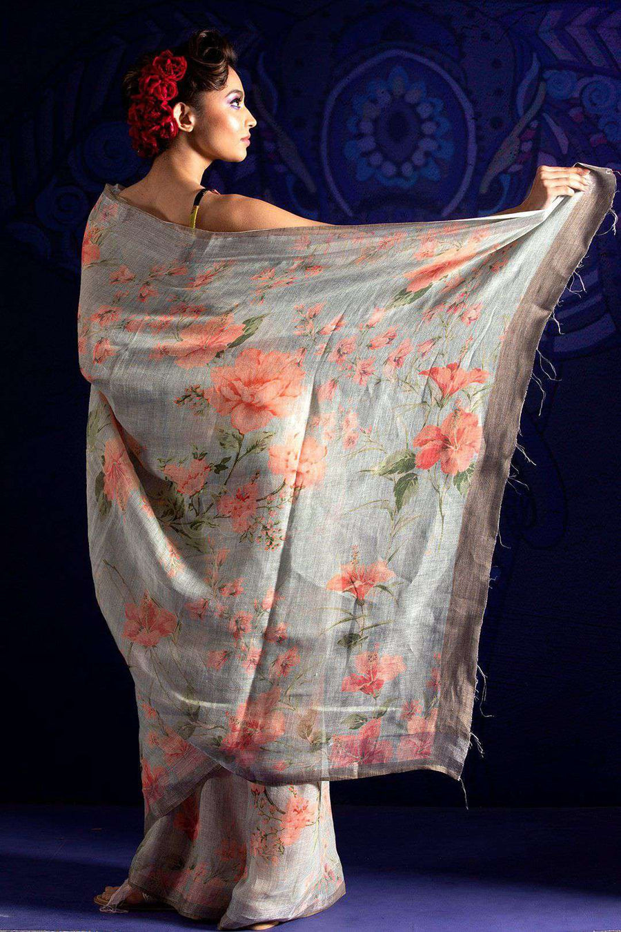Light Grey Linen Saree With Floral Print