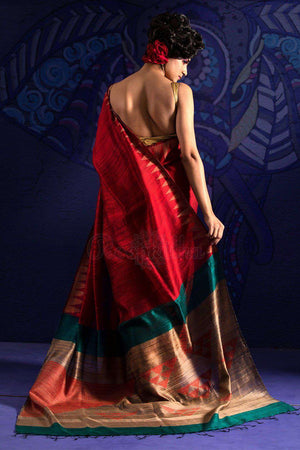 Red Matka Silk Saree With Woven Pallu
